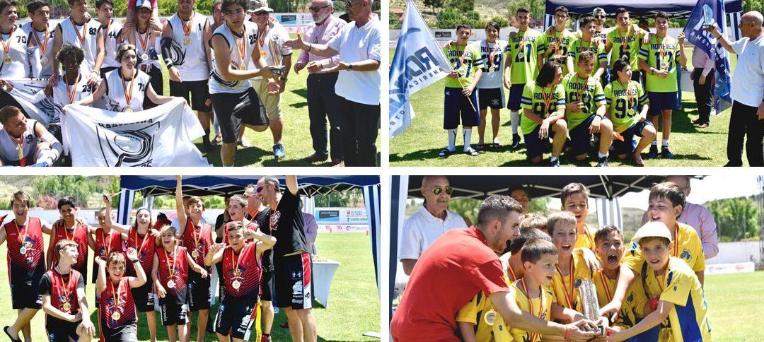 Barcelona Pagesos, Barberà Rookies, Vinaròs Ironmans y Sarrià de Ter Wolves, campeones de la Spanish Flag Bowl Youth en Calatayud